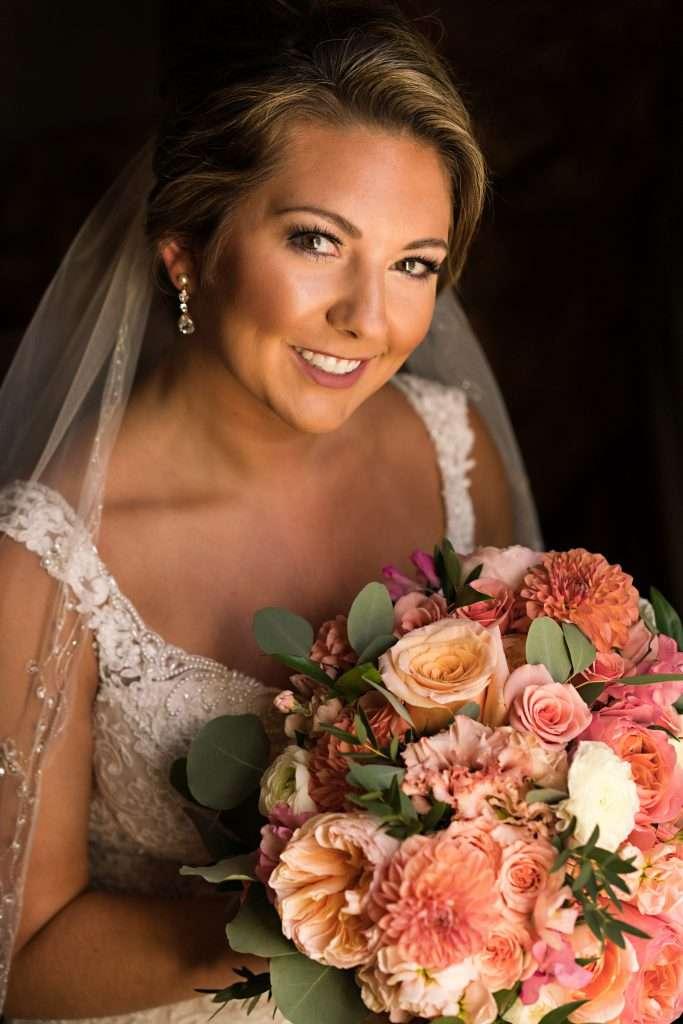 Bridal portrait with bouquet at Ribault Club wedding