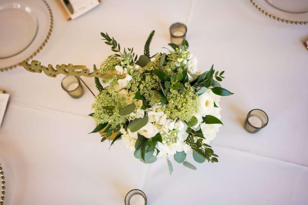 Floral centerpieces at Ribault club wedding