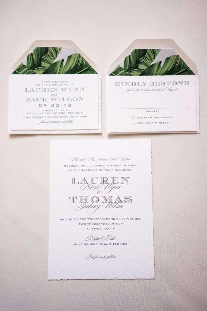 Invitations at Ribault Club wedding