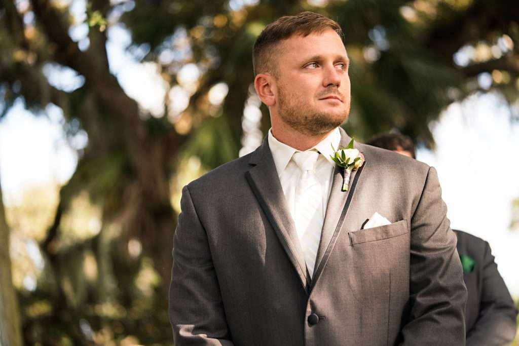 Groom at Ceremony at Ribault club wedding