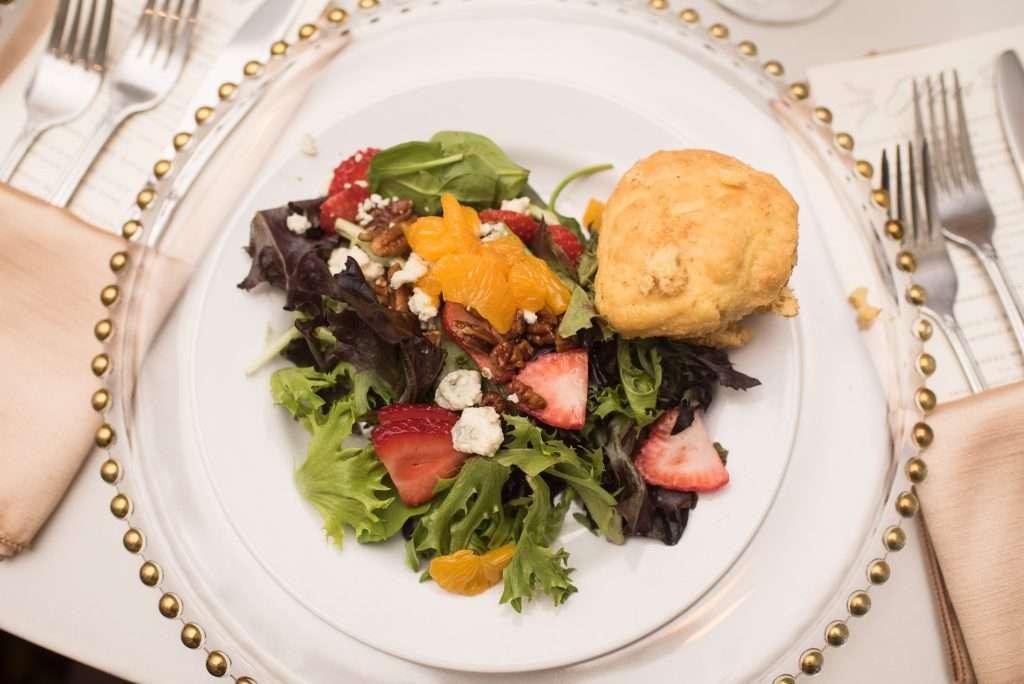 Pre-plated salad at Ribault Club wedding