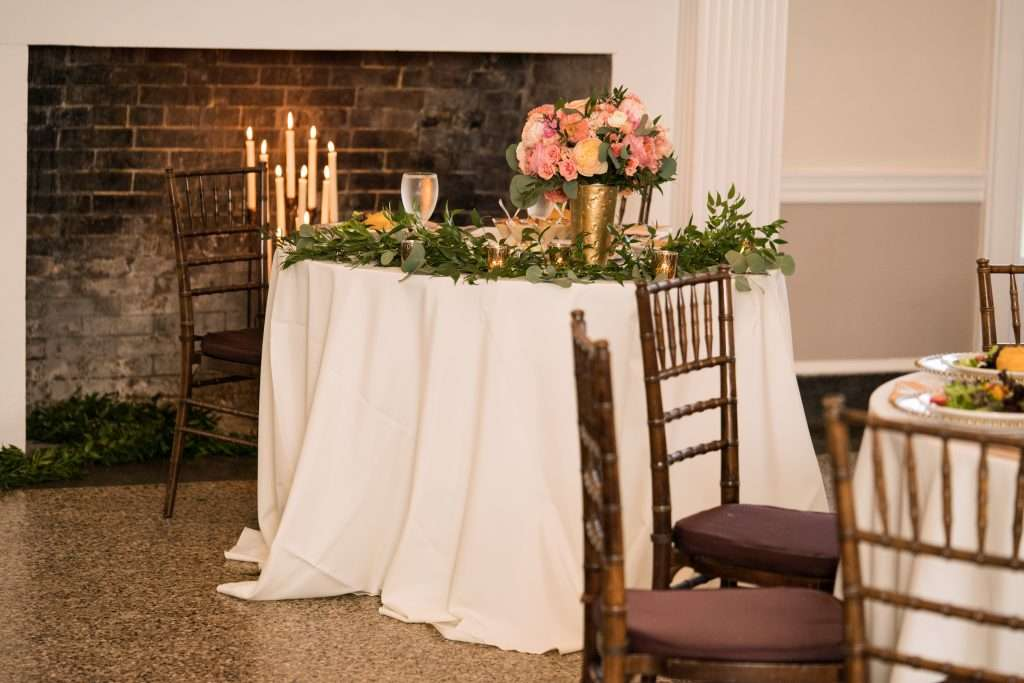 Sweetheart table at Ribault Club wedding
