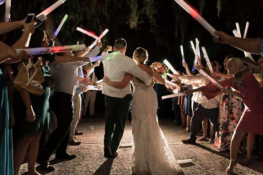 Foam glowstick exit at Ribault club wedding