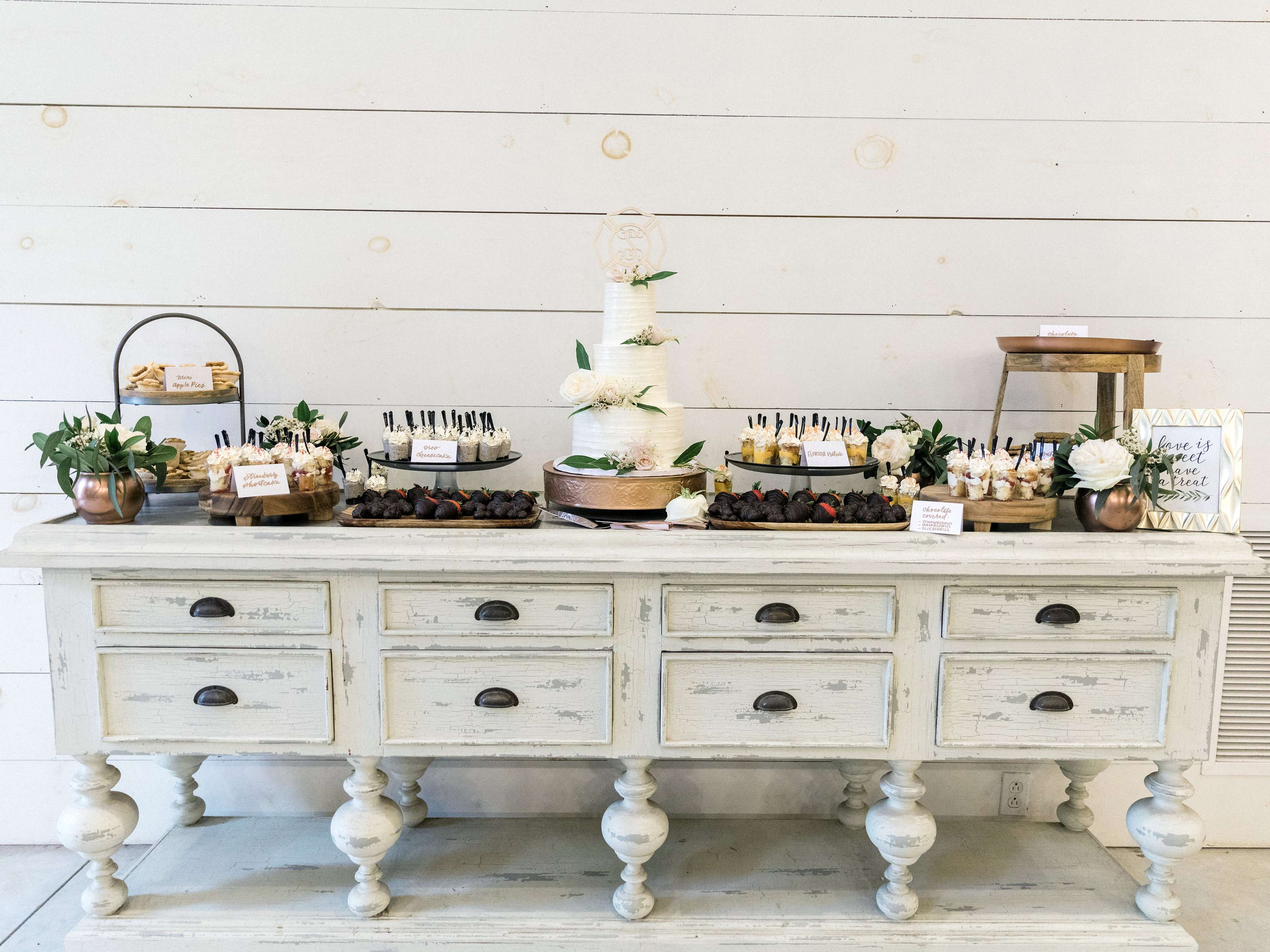 Dessert table at Chandler Oaks Barn