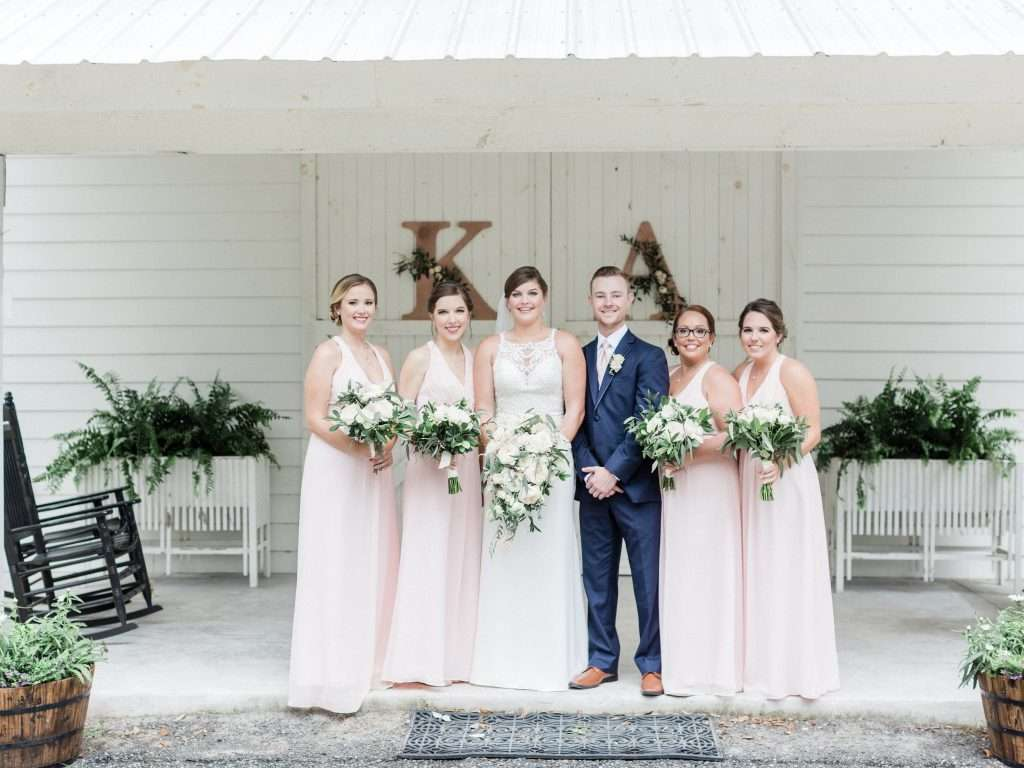 Bridal party at Chandler Oaks Barn