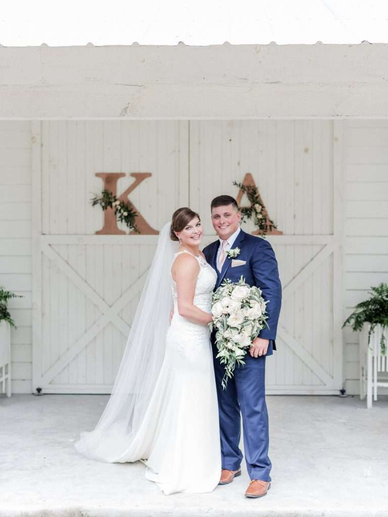 Bride and Groom at Chandler Oaks Barn