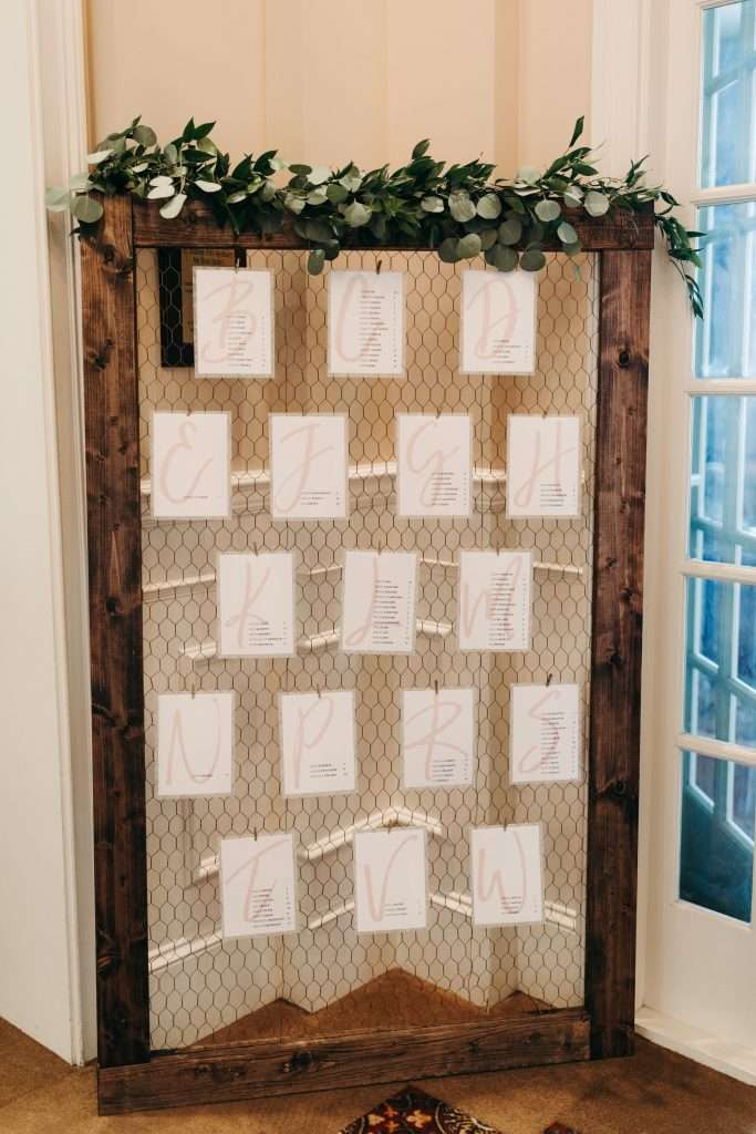 Seating chart at Riverhouse Wedding