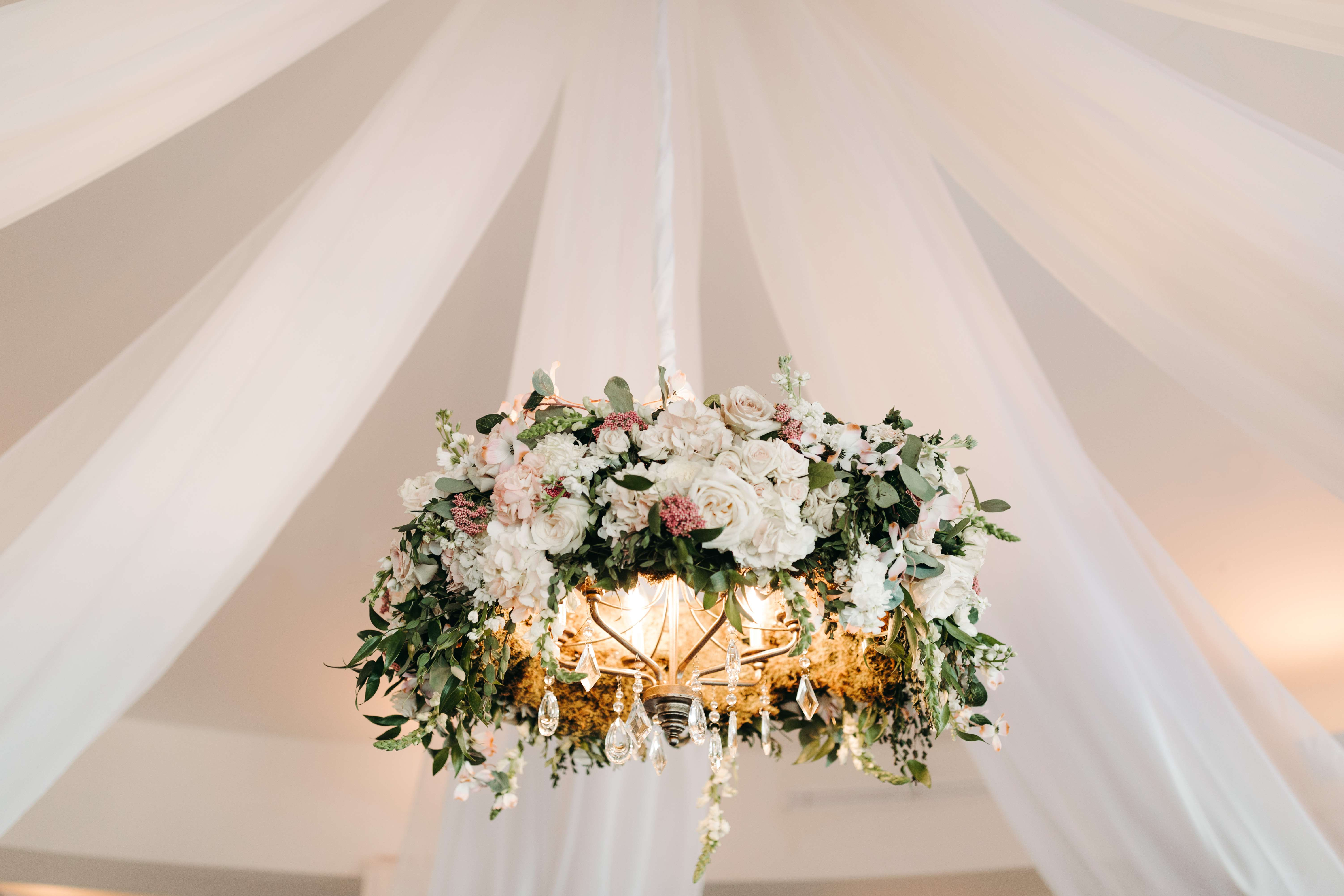 Floral Chandelier at Riverhouse wedding