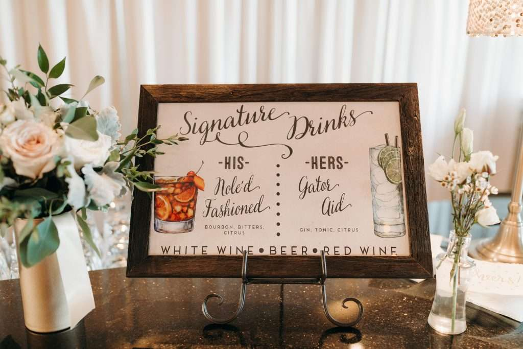 Bar Sign at Riverhouse wedding