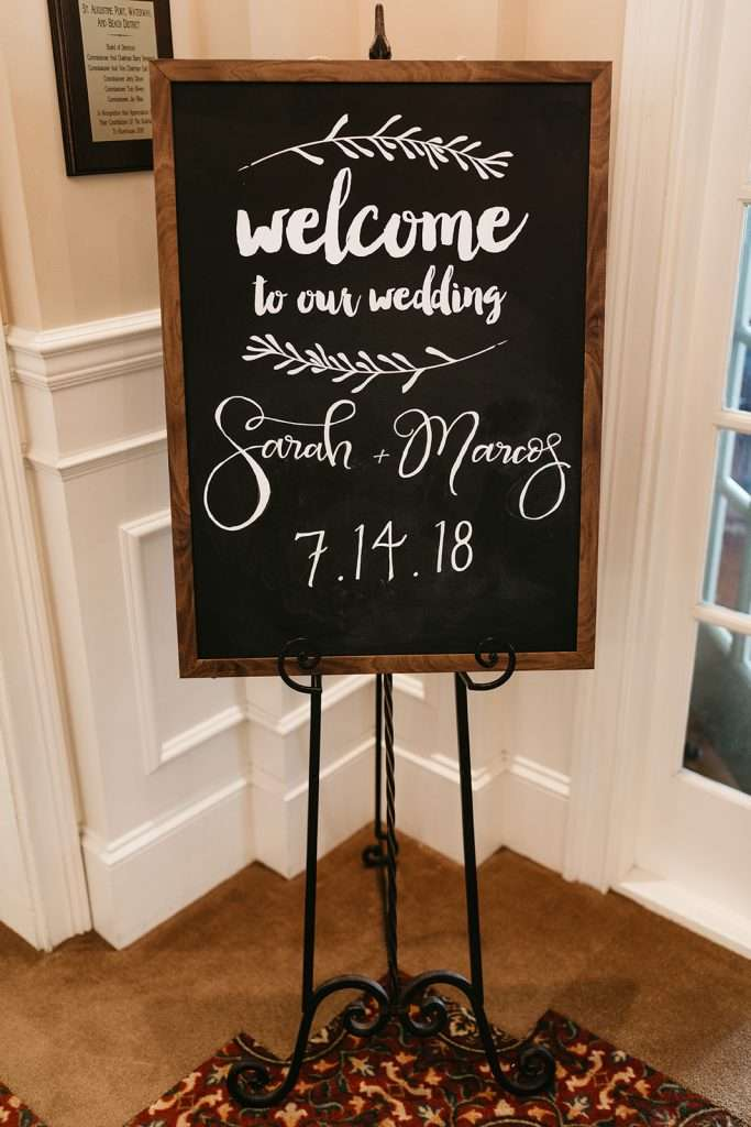 Welcome sign at River House wedding