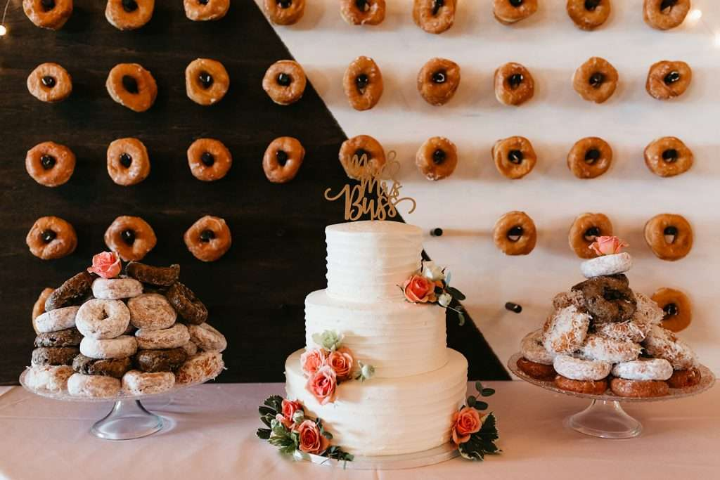 Cake and donuts at River House wedding