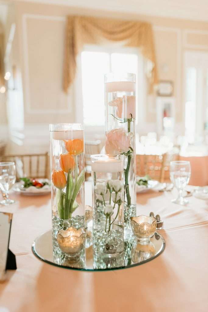 Centerpieces in River House Wedding