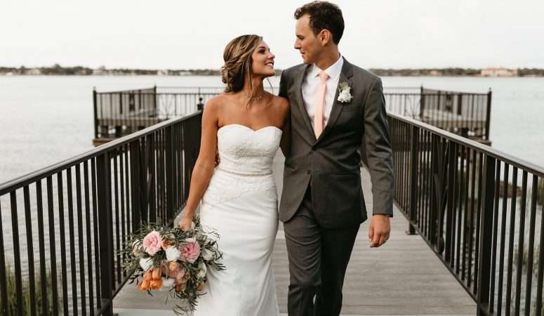 Couples portraits at River house wedding